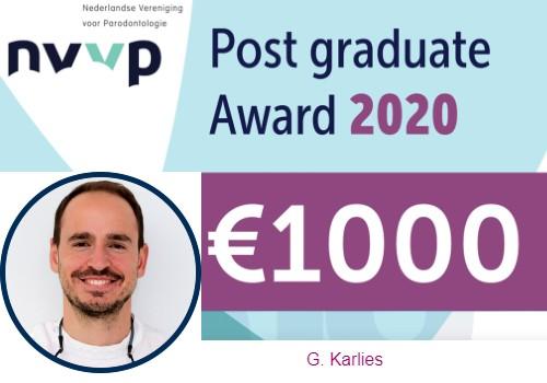 Gerasimos Karlis wint NVvP Post-graduate Award 2020
